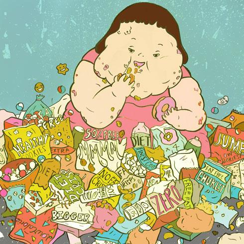 Aliments morts biocidiques junk food