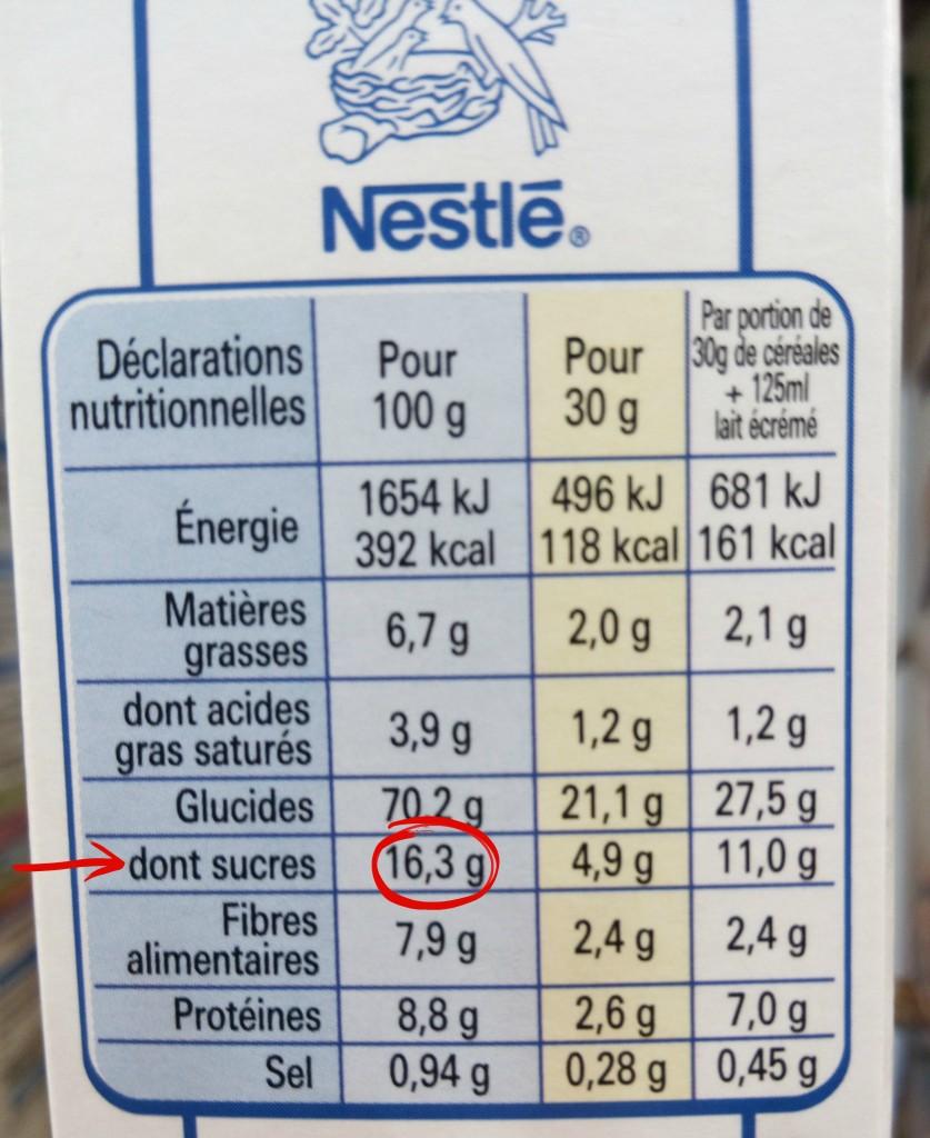 étiquette dont sucres special K