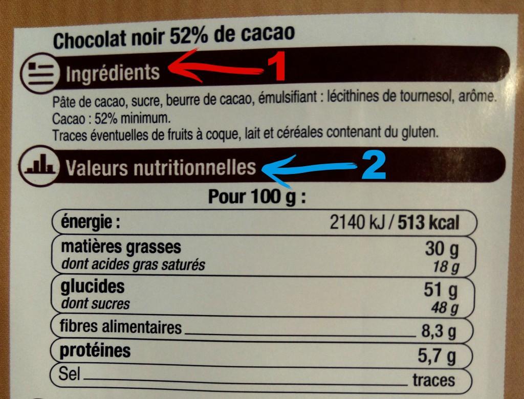 chocolat noir étiquette