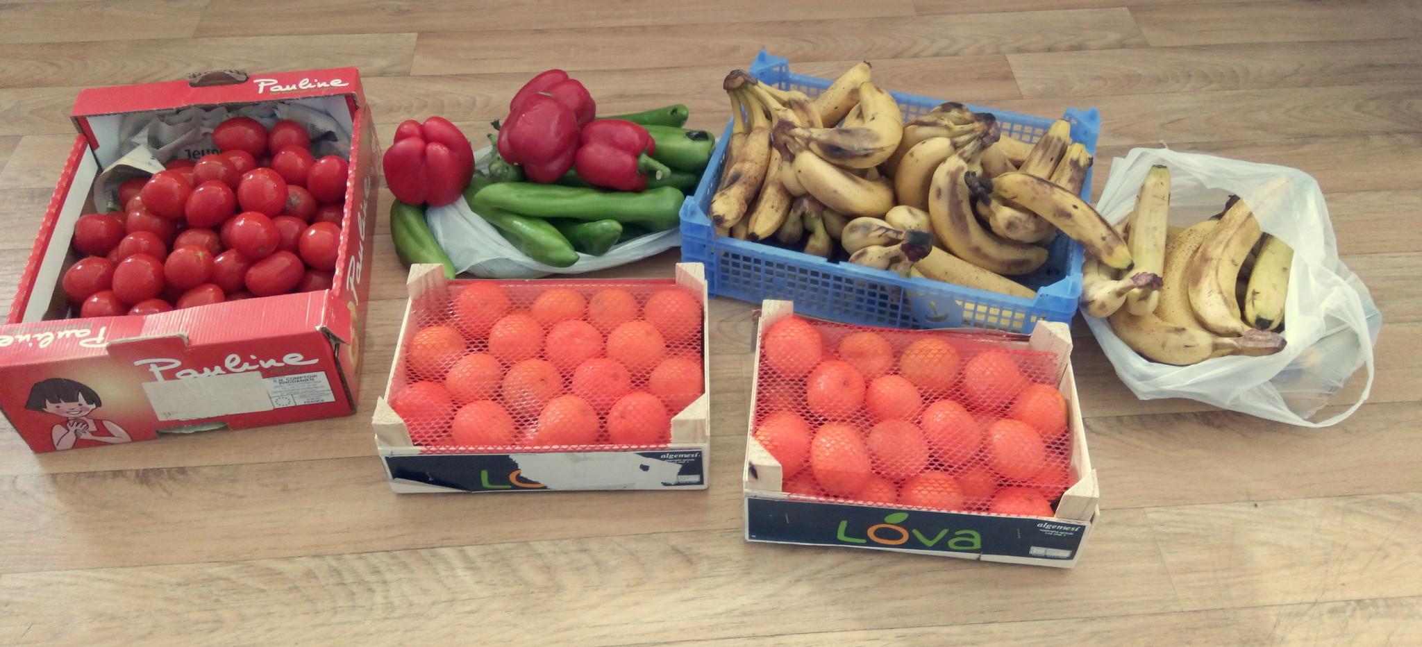 Récup' des marchés banane tomate poivron